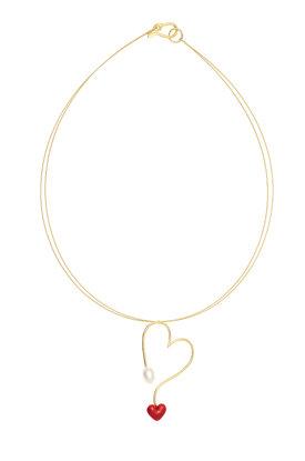 γυναικείο μενταγιόν σε σχήμα καρδιάς, με μαργαριτάρι και καρδιά με κόκκινο σμάλτο, σε ασήμι 925' με τσόκερ / 2KO0397