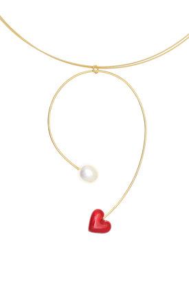 γυναικείο μενταγιόν, με μαργαριτάρι και καρδιά με κόκκινο σμάλτο, σε ασήμι 925' με τσόκερ / 2KO0399 - λεπτομέρεια