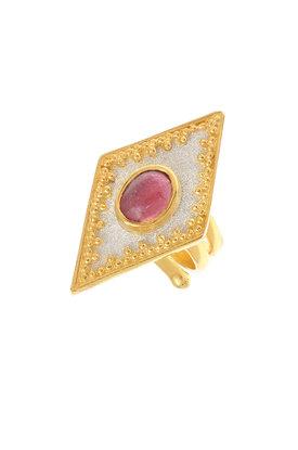 γυναικείο δαχτυλίδι, βυζαντινής τεχνοτροπίας, με καπουσόν αμέθυστο, χειροποίητο, σε ασήμι 925' / 2DA0275