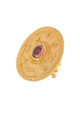 γυναικείο δαχτυλίδι, βυζαντινής τεχνοτροπίας, με καπουσόν αμέθυστο, χειροποίητο, σε ασήμι 925' / 2DA0276