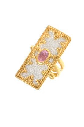 γυναικείο δαχτυλίδι, βυζαντινής τεχνοτροπίας, με καπουσόν αμέθυστο, χειροποίητο, σε ασήμι 925' / 2DA0277