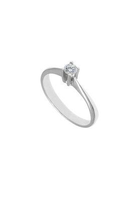 γυναικείο δαχτυλίδι, μονόπετρο με brilliant 0.18 ct, χειροποίητο, σε λευκό χρυσό 18 καρατίων / 1DA2894