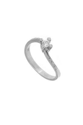 γυναικείο δαχτυλίδι, μονόπετρο με ζιργκόν, κρουαζέ, σε λευκό χρυσό Κ14 / 1DA2827