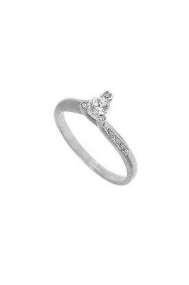 γυναικείο δαχτυλίδι, μονόπετρο με ζιργκόν, σε λευκό χρυσό Κ14 / 1DA2828