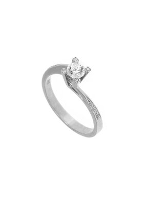 γυναικείο δαχτυλίδι, μονόπετρο με ζιργκόν, κρουαζέ, σε λευκό χρυσό Κ14 / 1DA2829