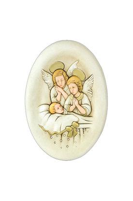 κεραμική εικόνα, ανάγλυφη, με νωπογραφία, Άγγελοι - Βρέφος / 2ΕΙ0184
