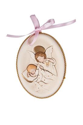 κεραμική εικόνα, ανάγλυφη, με νωπογραφία, Άγγελος - Βρέφος / 2ΕΙ0179 R