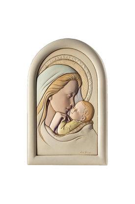 κεραμική εικόνα, ανάγλυφη με νωπογραφία, Παναγία Γλυκοφιλούσα / ΕΙ0217 / 120 x 180 mm