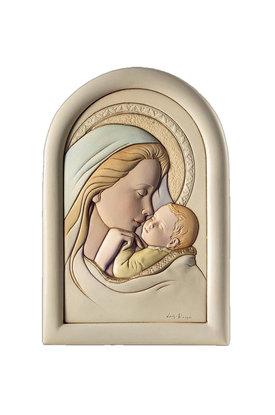 κεραμική εικόνα, ανάγλυφη με νωπογραφία, Παναγία Γλυκοφιλούσα / 2ΕΙ0218 / 160 x 230 mm