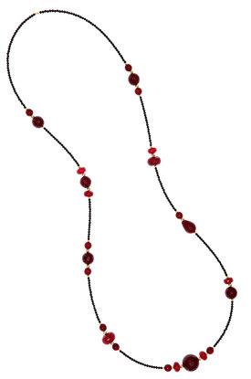 γυναικείο κολλιέ με αχάτες, σε μαύρο και ρουμπινί χρώμα και ασημένια επίχρυσα στοιχεία / 2KO0197