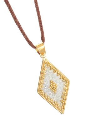 γυναικείο μενταγιόν, δίχρωμο, βυζαντινής τεχνοτροπίας, χειροποίητο σε ασήμι 925' με κορδόνι / 2ME0001