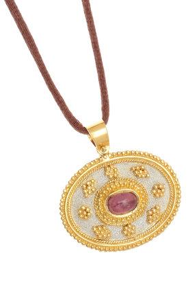 γυναικείο μενταγιόν, δίχρωμο, βυζαντινής τεχνοτροπίας, χειροποίητο, σε ασήμι 925' με κορδόνι / 2ME0002