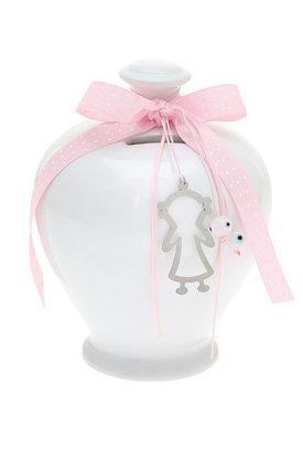 παιδικός κουμπαράς, για κορίτσια, από λευκή πορσελάνη, με κοριτσάκι και ματάκι / 2ΔΙ0347
