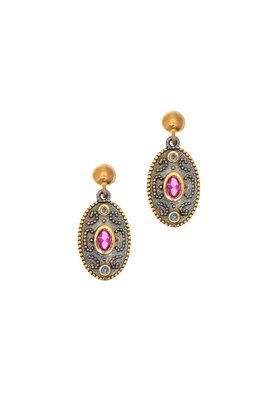 κρεμαστά σκουλαρίκια, γυναικεία, χειροποίητα, βυζαντινής τεχνοτροπίας, με συνθετικό ρουμπίνι κοπής oval, σε ασήμι 925' / 2SK0144