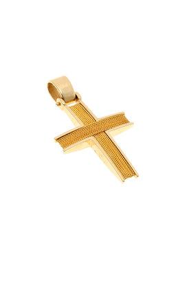 βαπτιστικός σταυρός, χειροποίητος, ανδρικός - unisex, βυζαντινής τεχνοτροπίας, σε χρυσό Κ14 / 1ST2058