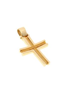 βαπτιστικός σταυρός, χειροποίητος, ανδρικός - unisex, βυζαντινής τεχνοτροπίας, σε χρυσό Κ14 / 1ST2059