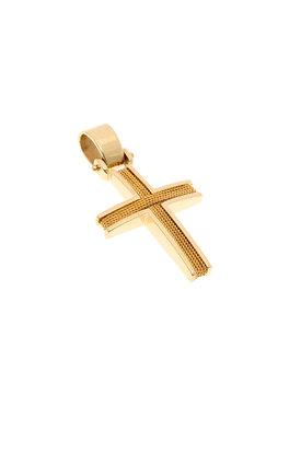 βαπτιστικός σταυρός, χειροποίητος, ανδρικός - unisex, βυζαντινής τεχνοτροπίας, σε χρυσό Κ14 / 1ST2082