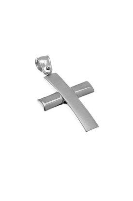βαπτιστικός σταυρός, ανδρικός - unisex, χειροποίητος, σε λευκό χρυσό Κ14 / 1ST2113