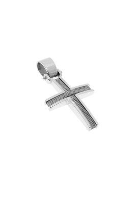 βαπτιστικός σταυρός, χειροποίητος, ανδρικός - unisex, βυζαντινής τεχνοτροπίας, σε λευκό χρυσό Κ14 / 1ST2115