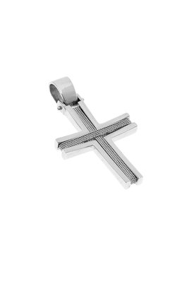 βαπτιστικός σταυρός, χειροπίητος, ανδρικός - unisex, βυζαντινής τεχνοτροπίας, σε λευκό χρυσό Κ14 / 1ST2116