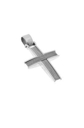 βαπτιστικός σταυρός, χειροποίητος, ανδρικός - unisex, βυζαντινής τεχνοτροπίας, σε λευκό χρυσό Κ14 / 1ST2117