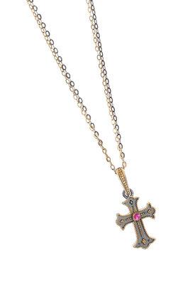 γυναικείος σταυρός, χειροποίητος, βυζαντινής τεχνοτροπίας, με συνθετικό ρουμπίνι, σε ασήμι 925' / 2KO0326