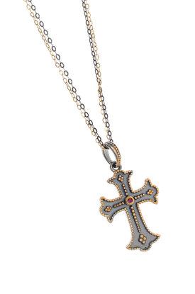 γυναικείος σταυρός, χειροποίητος, βυζαντινής τεχνοτροπίας, με συνθετικό ρουμπίνι, σε ασήμι 925' / 2KO0327