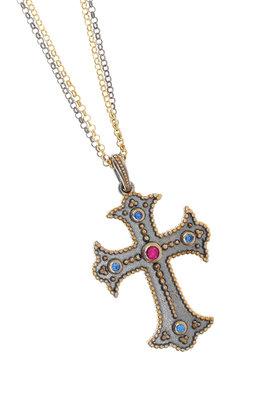 γυναικείος σταυρός, χειροποίητος, βυζαντινής τεχνοτροπίας,με συνθετικές πέτρες, σε ασήμι 925' / 2KO0328
