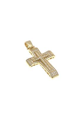 βαπτιστικός σταυρός, γυναικείος,με ζιργκόν, χειροποίητος, σε χρυσό Κ14 / 1ST2097