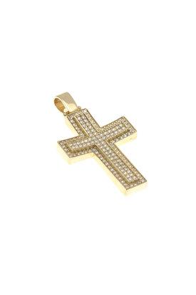 βαπτιστικός σταυρός, γυναικείος, με ζιργκόν, χειροποίητος, σε χρυσό Κ14 / 1ST2098 logo