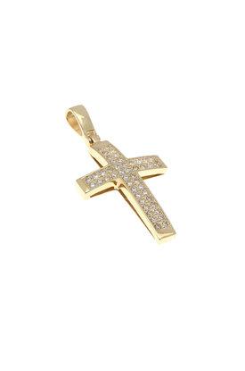 γυναικείος σταυρός βάπτισης, με ζιργκόν, χειροποίητος, σε χρυσό Κ14 / 1ST2105