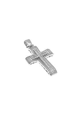 βαπτιστικός σταυρός, γυναικείος, με ζιργκόν, χειροποίητος, σε λευκό χρυσό Κ14 / 1ST2109