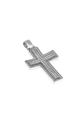 βαπτιστικός σταυρός, γυναικείος, με ζιργκόν, χειροποίητος, σε λευκό χρυσό Κ14 / 1ST2110