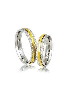 βέρες γάμου - αρραβώνων από ασήμι επιπλατινωμένο και κίτρινο χρυσό / A143 / 5.00 mm