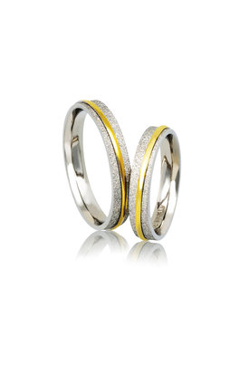 βέρες γάμου - αρραβώνων, από ασήμι επιπλατινωμένο, και κίτρινο χρυσό / A242 / 4.00 mm