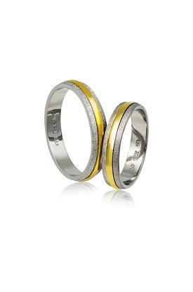 βέρες γάμου - αρραβώνων, από ασήμι επιπλατινωμένο και κίτρινο χρυσό / A81 / 4.30 mm