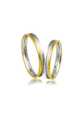 βέρες γάμου - αρραβώνων, από ασήμι επιπλατινωμένο και κίτρινο χρυσό / AB2 / 3.00 mm