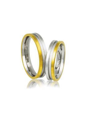 βέρες γάμου - αρραβώνων, από ασήμι επιπλατινωμένο και κίτρινο χρυσό / AC5 / 4.80 mm