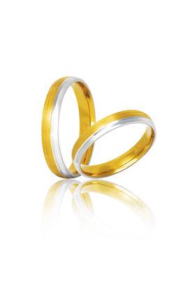 βέρες γάμου - αρραβώνων, δίχρωμες, σε χρυσό και λευκό χρυσό Κ9 ή Κ14 / S33 / 3,50 mm