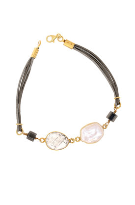 γυναικείο βραχιόλι, με δερμάτινα μολυβί κορδόνι, mother of pearl, ρουτίλιο και ασημένια επιχρυσωμένα στοιχεία / 2BR0119
