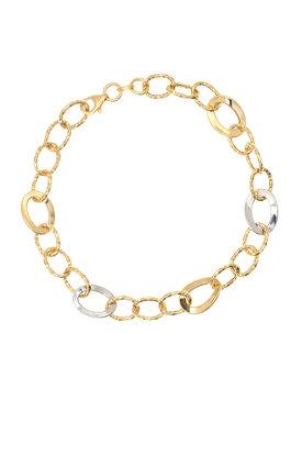 γυναικείο βραχιόλι, δίχρωμο, σε χρυσό και λευκόχρυσο Κ14 / 1BR1473