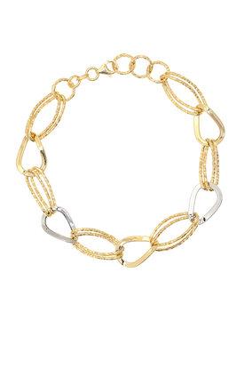 γυναικείο βραχιόλι, δίχρωμο, σε χρυσό και λευκόχρυσο Κ14 / 1BR1474