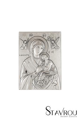 θρησκευτική ορθόδοξη εικόνα πίστης Παναγία Αμόλυντος, ανάγλυφη, σε ασήμι 925' / 2ΕΙ0133 logo / 130 x 180 mm
