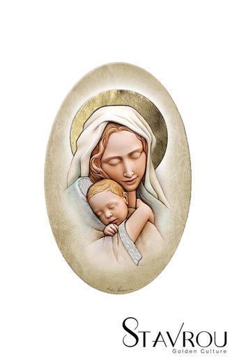 εικόνα Παναγία Βρεφοκρατούσα, oval, ζωγραφισμένη σε ξύλο, με ασήμι / 2ΕΙ0189 logo