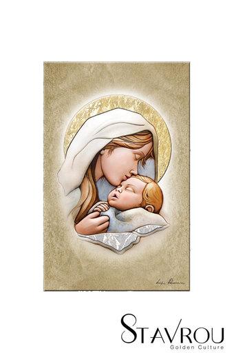 εικόνα Παναγία Γλυκοφιλούσα, ανάγλυφη, ζωγραφισμένη σε ξύλο, με ασήμι / 2ΕΙ0203 logo