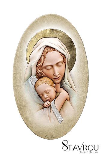 εικόνα Παναγία Βρεφοκρατούσα, oval, ζωγραφισμένη σε ξύλο, με ασήμι / 2ΕΙ0230 logo