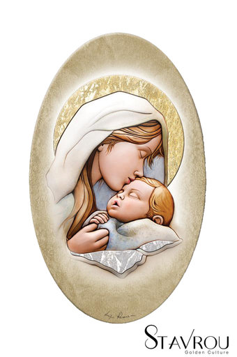 εικόνα Παναγία Γλυκοφιλούσα, oval, ζωγραφισμένη σε ξύλο, με ασήμι / 2ΕΙ0231 logo