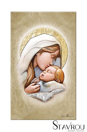 εικόνα Παναγία Γλυκοφιλούσα, ζωγραφισμένη σε ξύλο με ασήμι / 2ΕΙ0233 logo
