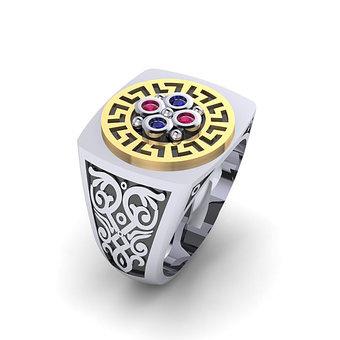 Αρχαϊκό Δαχτυλίδι σεβαλιέ 8 / Ασημένιο, χειροποίητο, δίχρωμο, λευκό κίτρινο, με ανθέμιο μαίανδρο και χρωματιστές συνθετικές πέτρες