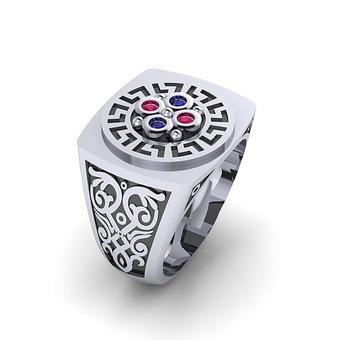 Αρχαϊκό Δαχτυλίδι σεβαλιέ 8 / Ασημένιο, χειροποίητο, δίχρωμο, λευκό μαύρο, με ανθέμιο μαίανδρο και χρωματιστές συνθετικές πέτρες